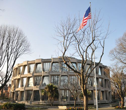 The american embassy in Dublin, Ireland. Circular in plan it incorporates modern interpretations of early Celtic and later Irish buildings[3] with contemporary American design. Also see http://en.wikipedia.org/wiki/Embassy_of_the_United_States,_Dublin