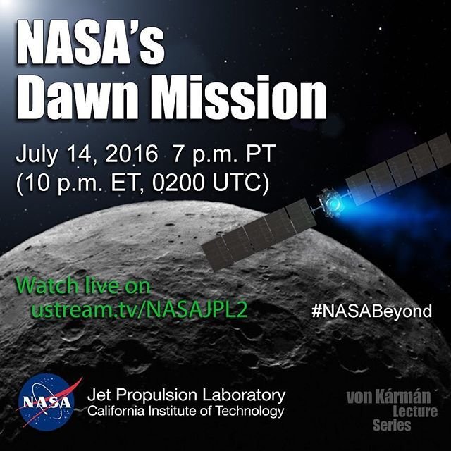 To Boldly Go! Join us for a #livestreamed public talk about the voyages of @NASA's #Dawn mission to Vesta and Ceres in the #Asteroid Belt. July 14 at 7 p.m. PT (10 p.m. ET, 0200 GMT/UTC) on http://ustream.tv/NASAJPL2 (link in bio) #space #spacecraft #NASA #JPL #DLR #ion #technology #NASABeyond