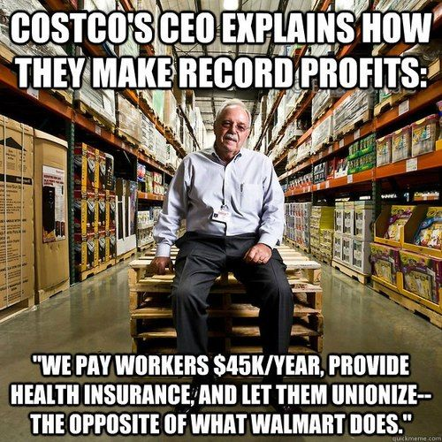 Costco CEO Craig Jelinek supports raising the minimum wage. Costco announced record profits today, averaging 10,000$ in profit per employee compared to 7,400$ at Walmart. The secret to Costco's success is paying employees well, providing benefits, and giving them an opportunity to unionize.