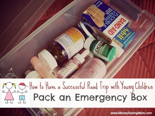 Travel Emergency Box Plastic Bags (for trash or diapers) Lysol Wipes Tissues Huggies Wipes Ziploc Baggies Hand Sanitizer Lip Gloss Lotion Medicine/Hygiene Box Bandages Infant Pain Reliever Children's Advil Benadryl Travel sizes of Shampoo/Conditioner Excedrin Sunblock Thermometer Motrin PM Body Wash Neosporin Fingernail Polish Remover Multi-Vitamins
