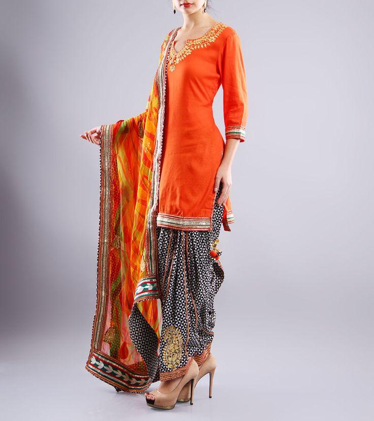 Orange Cotton Malmal Patiala Salwar Kameez With Gota Patti