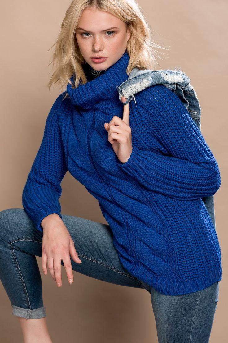 Kadın Saks Mavi Kazak O&O-6K120003 Olgun Orkun | Trendyol