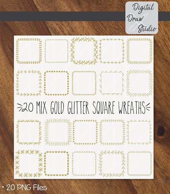 20 Gold Glitter Square Wreaths Clip Art  Square Hand Drawn