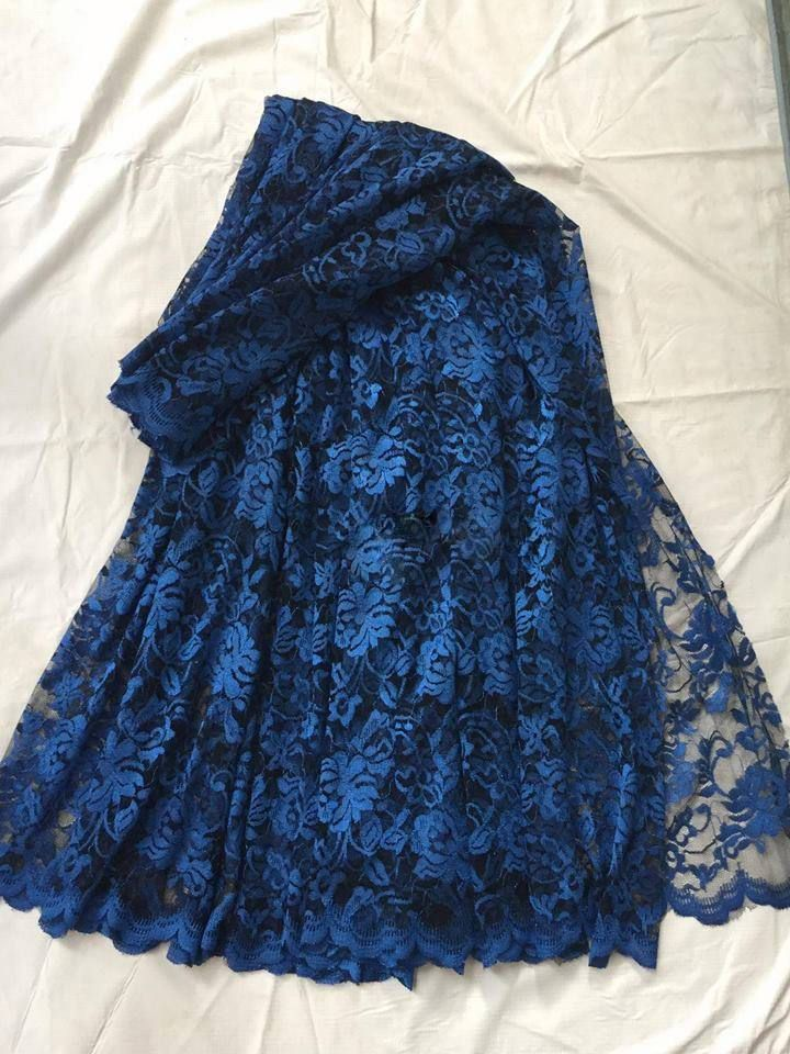 Blue soft lace net Sari by ZainabBoutique on Etsy