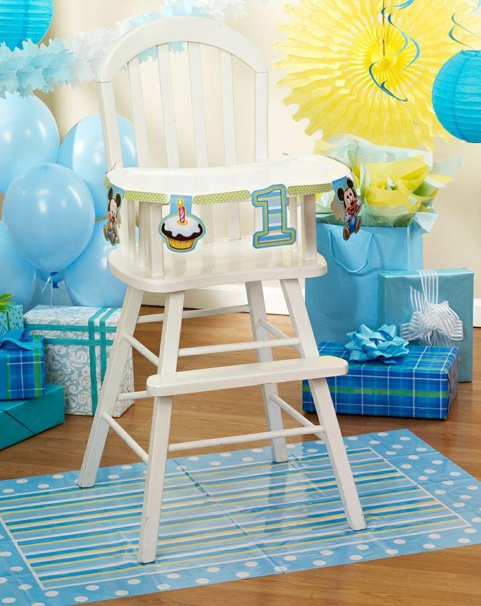 fiesta facil, decoracion para cumpleaños de bebé, un año, globos azules