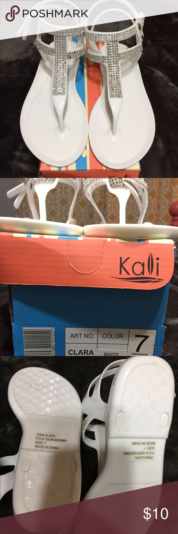 🆕 Kali White Sandals NWOT - Beautiful bling white plastic sandals, never worn, still in the box, great with any outfit. Kali Shoes Sandals