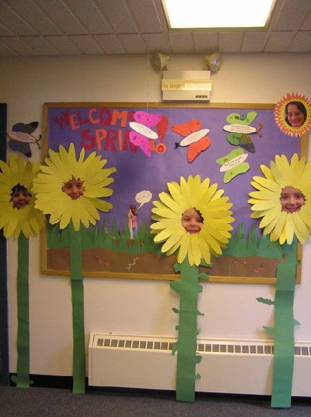 These giant student flowers with their pictures in the center of them would make such an eye-catching spring bulletin board display.  I would have my students use a variety of different colors for the petals of their flowers (not just yellow) so that their flowers would be a rainbow of bright colors.
