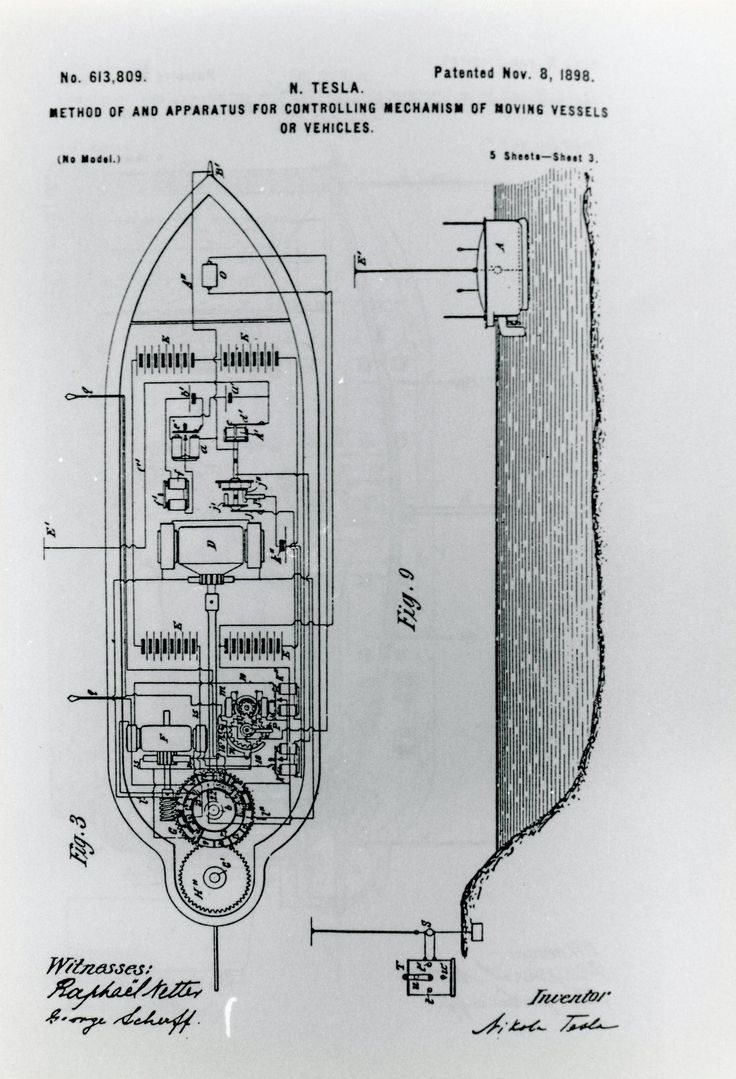"Nikola Tesla's patent for ""Method of and Apparatus for Controlling Mechanism of Moving Vessels or Vehicles"", 1898, an early use of radio waves."