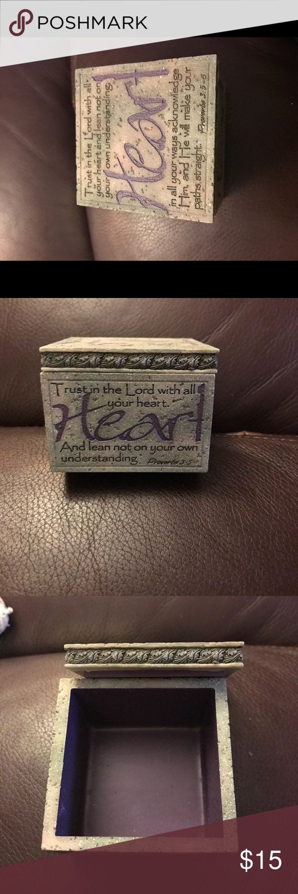 Beautiful inscribed jewelry box Cute small jewelry box with inscription about Trust in the lord and a purple inside. The outside color is more of a stone color Other