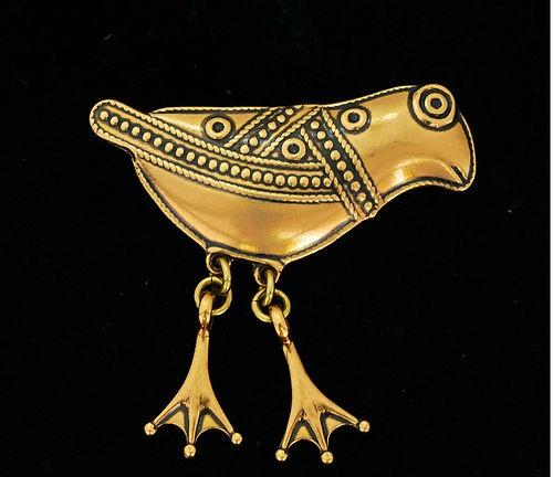 Vintage Modernist - BIRD OF HATTULA - bronze brooch, Kalevala Koru, Finland