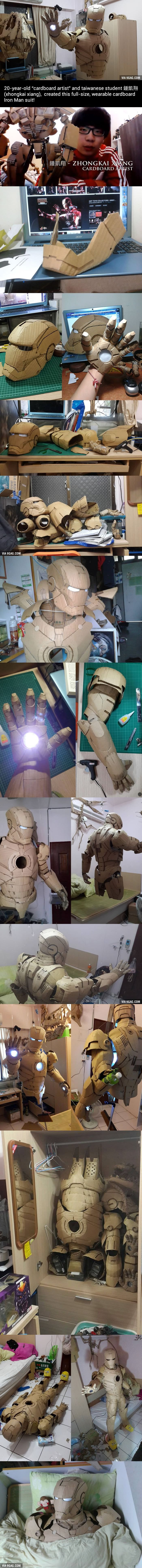 "Iron Man in Cardboard by the Taiwanese ""Cardboard Artist"""
