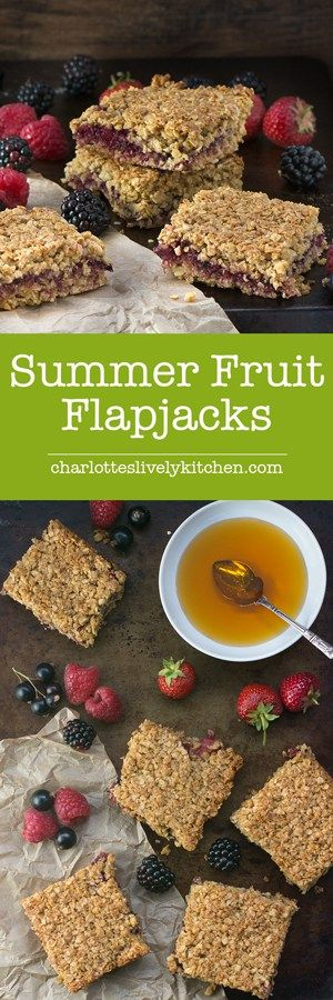 Summer fruits flapjacks - A delightful mix of strawberries, raspberries, blackberries and blackcurrants sandwiched between crunchy oats in this easy to follow flapjack recipe.