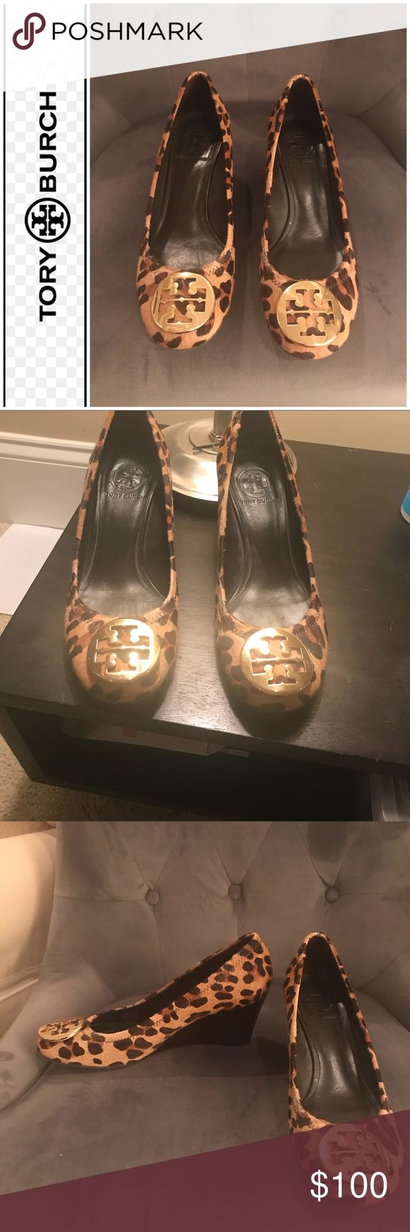"""Authentic Tory Burch Leopard wedges Authentic Tory Burch calf hair leopard print wedges. Size 8. Gold hardware. Some scratches on hardware. Some spots of shoes have wear (see pics) where some of calf hair has been rubbed off due to wear. Wedges are approximately 2.5"""" and are a dark brown. These shoes are gorgeous. Tory Burch Shoes Wedges"""