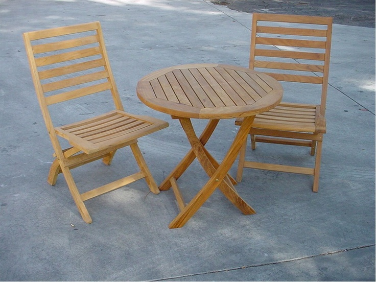 """All Garden Benches - Bahama 27"""" Bistro Round Folding Table with 2 Andrew Folding Chairs, $924.99 (http://www.allgardenbenches.com/bahama-27-bistro-round-folding-table-with-2-andrew-folding-chairs/)"""