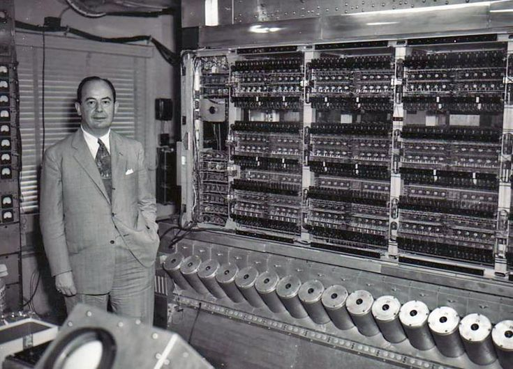 Von Neumann in front of the Institute for Advanced Studies computer, in the 50's