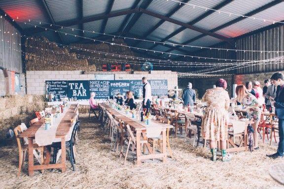 Wedding reception in a cow shed! Barn wedding inspiration