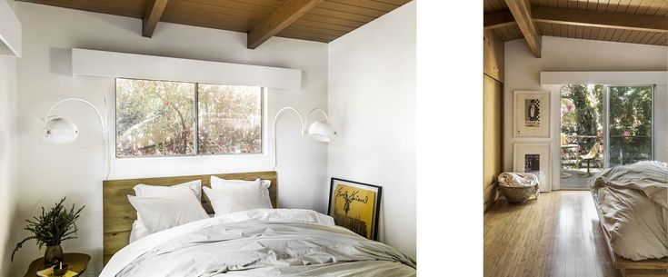 The bed has a white coverlet, sheets, and pillows. Sliding glass doors led to a deck.