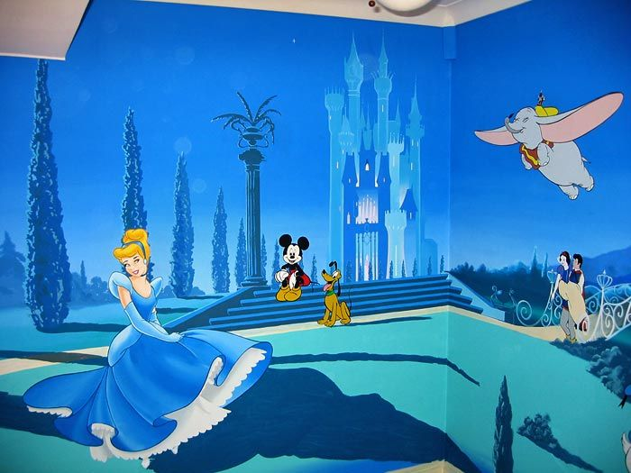 Cinderella Mural With Disney Princess Castle And Disney Characters Part 82