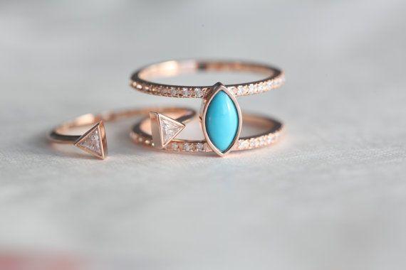 Turquoise Wedding Set, Bohemian Ring, Gold Turquoise Ring, Diamond Wedding Set €1,857.23+Engagement Ring by capucinne