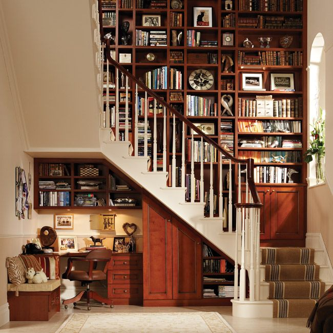 At home library and office nookIdeas, Bookshelves, Home Libraries, Dreams, Bookcas, Understairs, Home Offices Design, Under Stairs, Offices Nooks