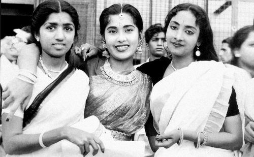 "simplicitylovebeauty: ""The young singers, Lata Mangeshkar, Meena Kapoor, and Geeta Dutt. """