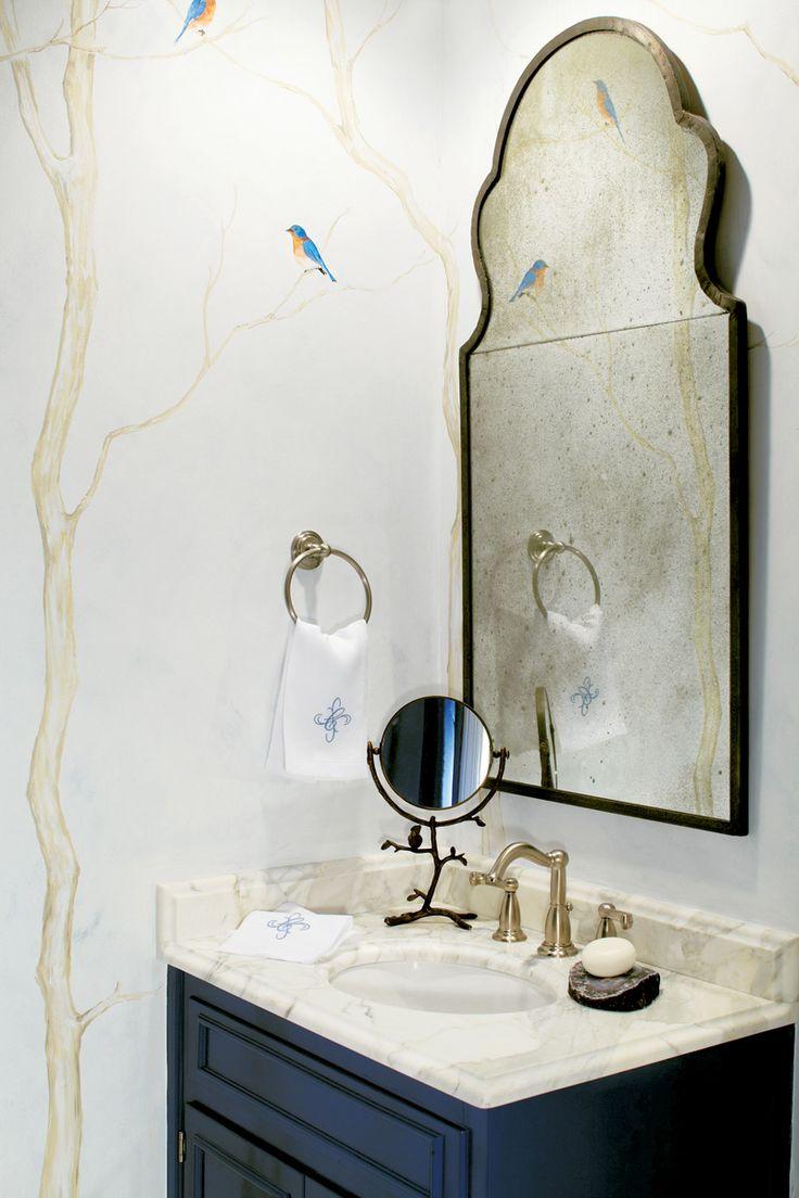 Hand Painted Wall Mural Susan Currie Painted Walls Pinterest Powder Room Vanity Powder