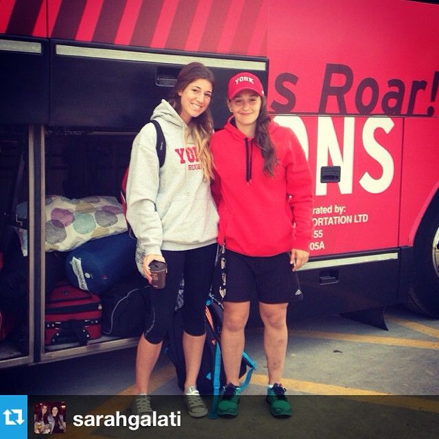 Safe travels to @sarahgalati, @rosenatarelli and the rest of the women's rugby team as they are en route to Columbus for the weekend to square off against The Ohio State Buckeyes in preseason action! #yorku #lionpride #yorklions #rugby
