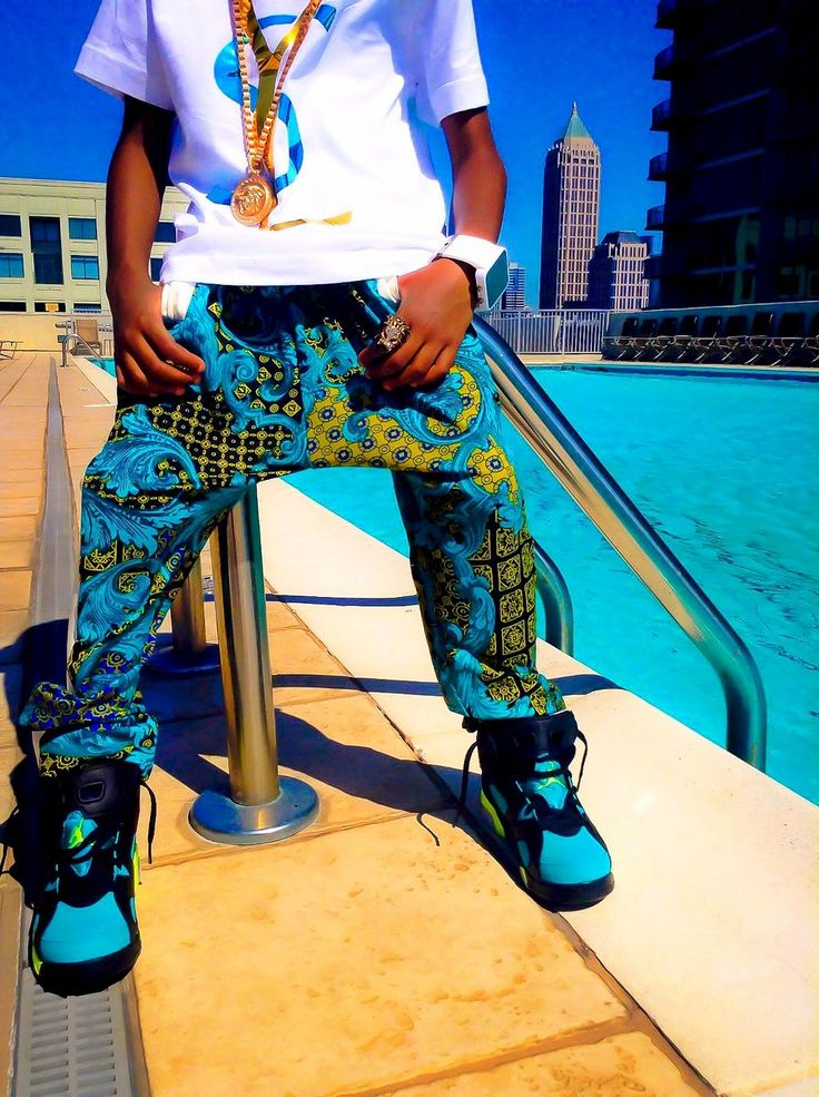 quotgang greenquot print and leather joggers rich boys hip