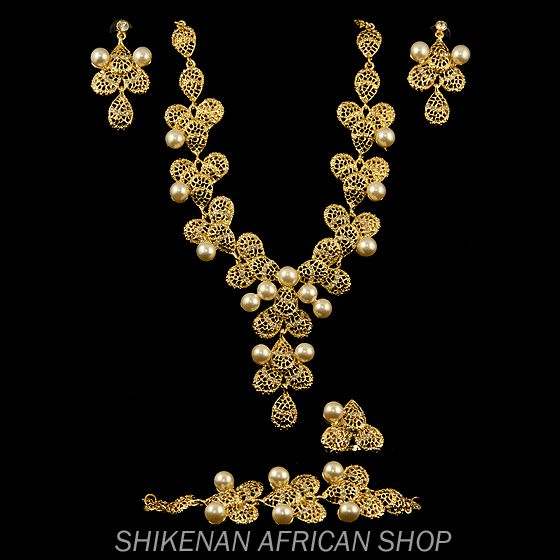Floral Gold and Pearl Jewelry Set - African Fashion
