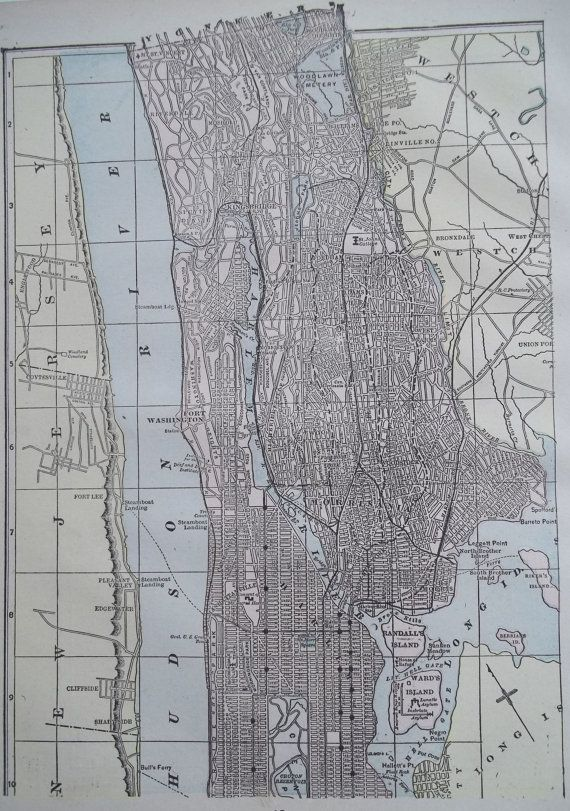 Antique NEW YORK CITY Upper Manhattan City