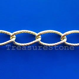Chain,aluminum,light-gold-finished,15x28mm twisted curb-By meter