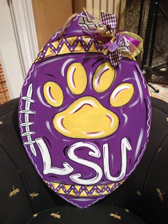 LSU Tigers Football Door Hanger Door Wreath by ArtworkToTreasure