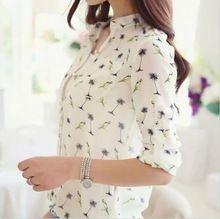 Alta qualidade De mulheres Tops moda pássaros impressão blusas De Chiffon camisa De colarinho Blusa De Chiffon(China (Mainland))