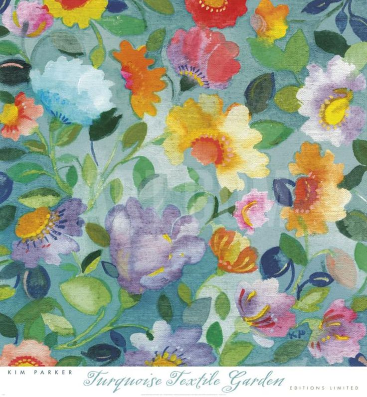 Turqouise Textile Garden Art Print by Kim Parker at Art.com