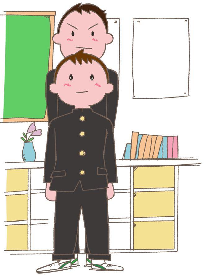 中学男子 身長差 イラスト