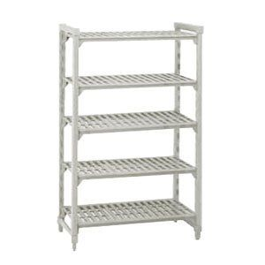 "Cambro CSU54488PKG480 - 48-in Shelving Starter Unit w/ 5-Shelves, 24 D x 84 H, Grey by Cambro. $439.99. Cambro CSU54488PKG480 48-in Shelving Starter Unit w/ 5-Shelves, 24 D x 84 H, Grey. Camshelving Starter Unit, 24"" W x 48"" L x 84"" H, 5 shelf, includes: four posts, 2 sets of post connectors, traverses & vented shelf plates, speckled gray, NSF."