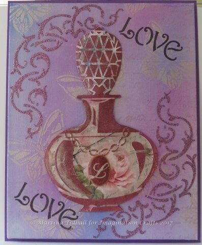 Canvas by Martina Tidball for Hochanda ODS June 2017. Perfume Bottle Art stencil.