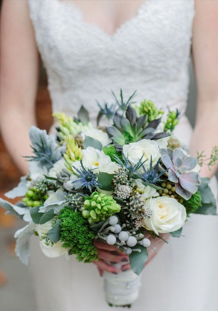 Gorgeous Wedding Bouquet Featuring: Ivory Roses, Blue Eryngium Thistle, Silver Brunia, Several Varieties Of Green Succulent, Star Of Bethlehem, Green Trachellium, Dusty Miller