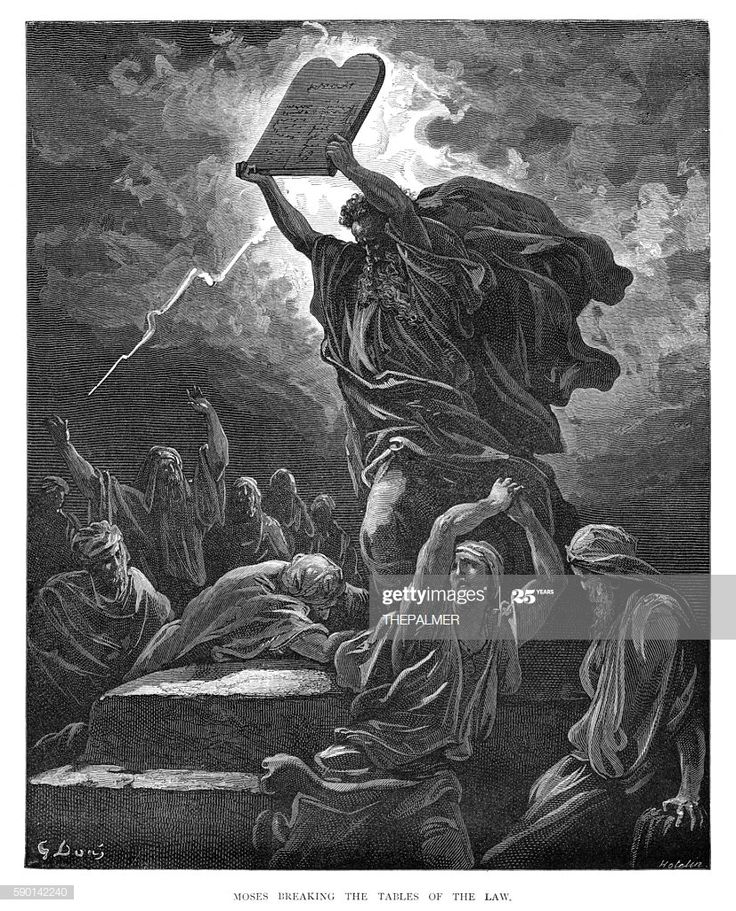 Moses Breaking The Tables Of Law 1870 Illustration Ad