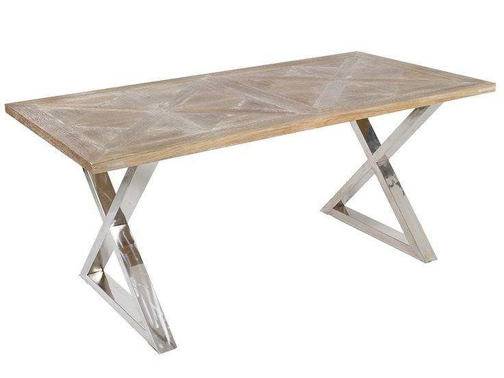 Comprar mesa de comedor estilo industrial de madera de teca con patas de acero inoxidable, ideal para crear una decoración ecléctica en el salón-comedor.