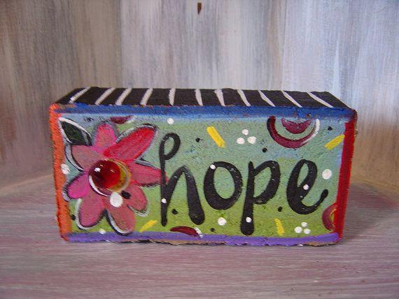 Hope Brick Whimsical Garden Art by KathyHyatt on Etsy, $18.00