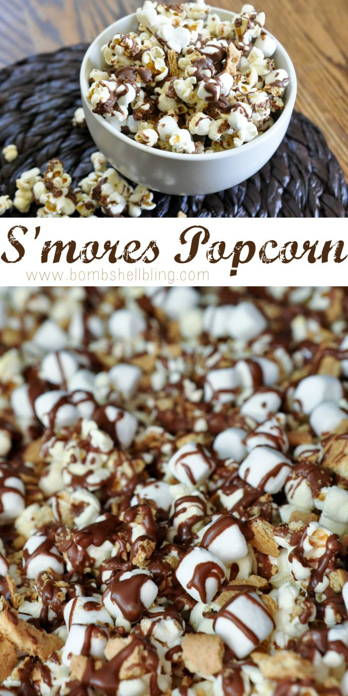 S'mores Popcorn Recipe - Wonderful favors for a country or rustic wedding.  Simply put this mixture in a cello bag and tie with a ribbon.