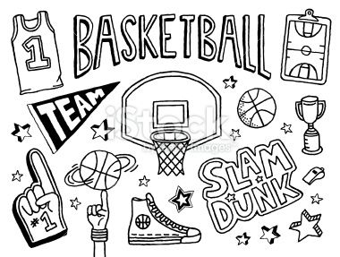 Basketball, Ballon de basket, Griffonnage, Symbole, Croquis Illustration vectorielle libre de droits