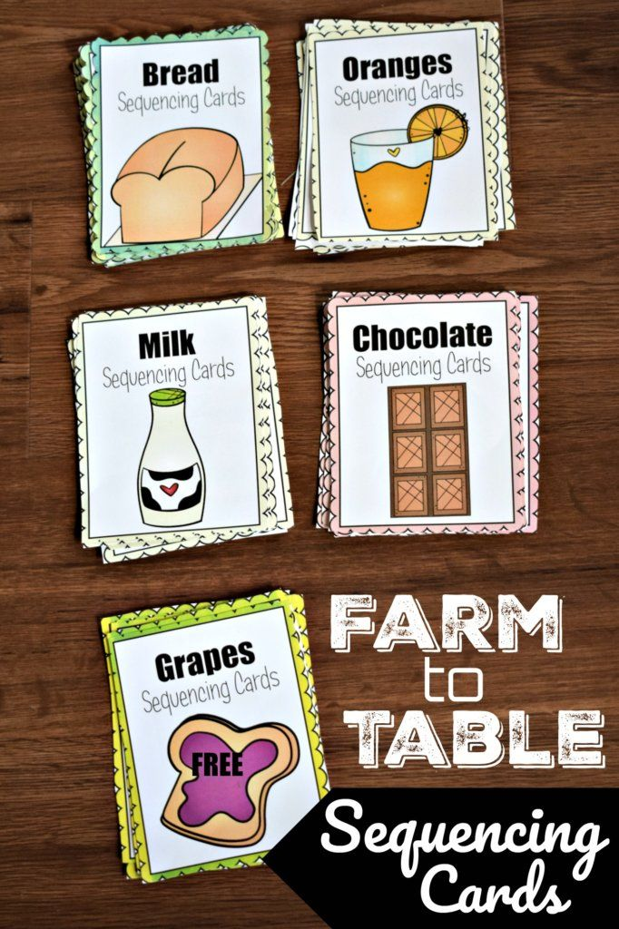 FREE Farm to Table Sequencing Cards to help kids learn about food source, sequencing, and science fo…