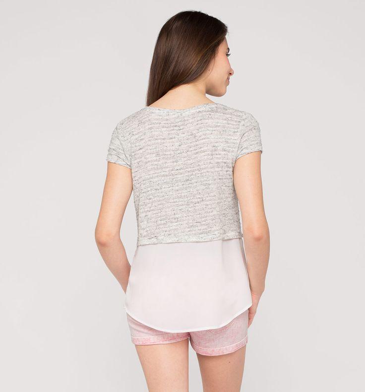 Backimage View Shirt met korte mouwen in 2-in-1-look in licht grijs-mix
