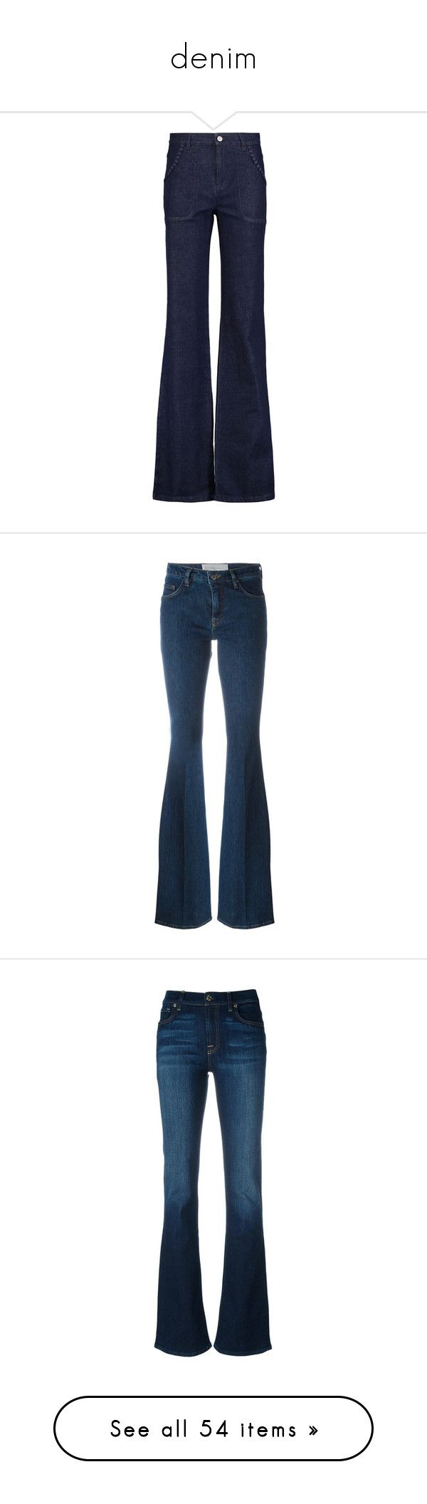 """""""denim"""" by killasuki ❤ liked on Polyvore featuring jeans, pants, mid denim, high waisted blue jeans, slim cut jeans, slim fit blue jeans, high-rise flared jeans, blue jeans, victoria beckham and bottoms"""