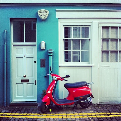 Down the Mews  And I love the scooter too!