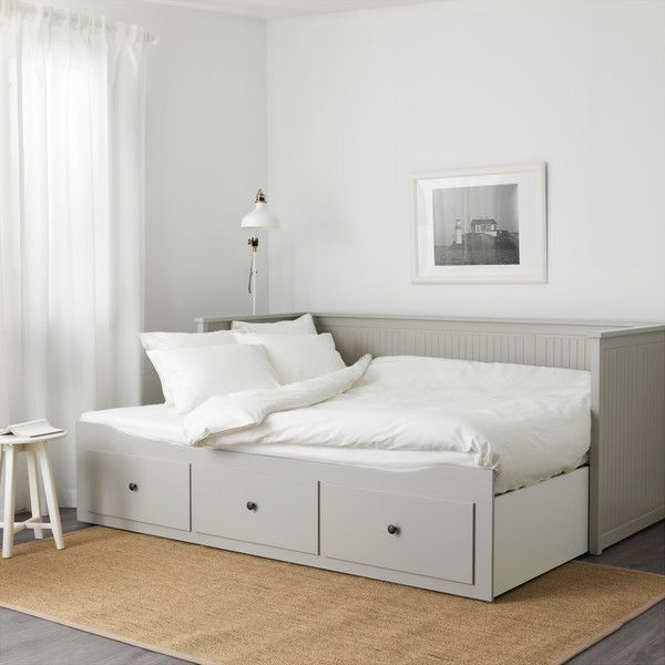 HEMNES Day-bed frame with 3 drawers Grey ($290) ❤ liked on Polyvore featuring home and furniture