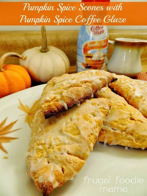 Pumpkin Spice Scones with Pumpkin Spice Coffee Glaze via thefrugalfoodiemama.com #pumpkinspice #pumpkinscones #coffeecreamer