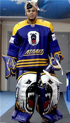 Ray Emery playing in the the Russian KHL league wearing custom Brian's gear #ray #emery #brians #goalie #gear #ice #bear #custom #KHL